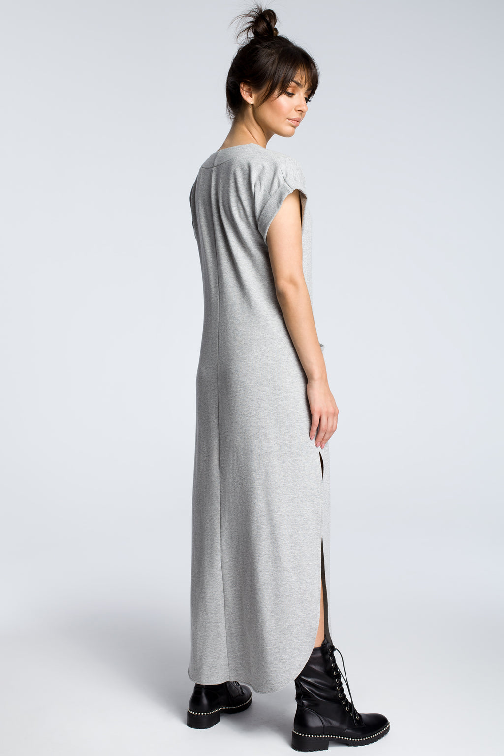 Grey Maxi Dress With Side Slits