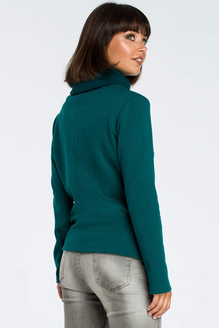 High Collared Green Sweatshirt With A Side Tie