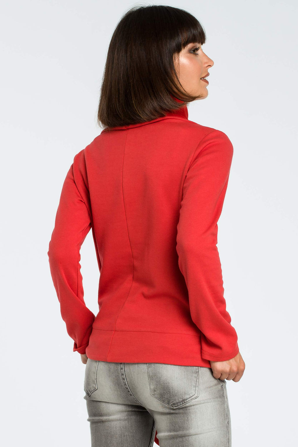 High Collared Red Sweatshirt With A Side Tie