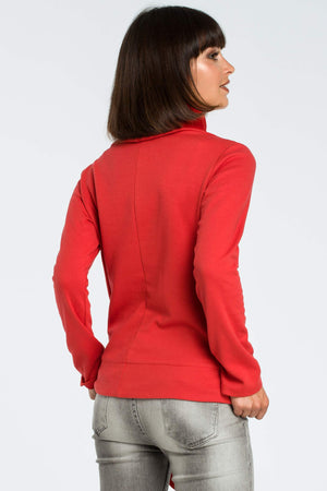 High Collared Red Sweatshirt With A Side Tie - So Chic Boutique
