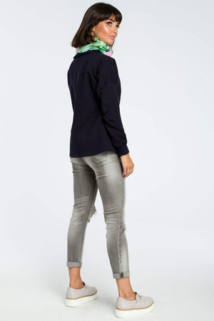 Navy Blue Sweatshirt With A Colorful Stand Up Collar - So Chic Boutique