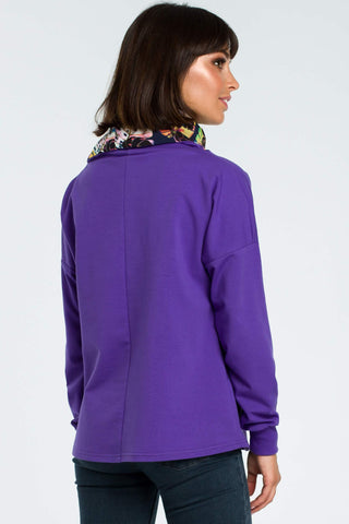 Purple Sweatshirt With A Colorful Stand Up Collar