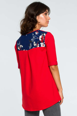 Red Loose Top With Floral Details - So Chic Boutique