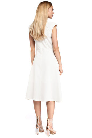 Ecru Midi Dress With Inverted Front Pleat