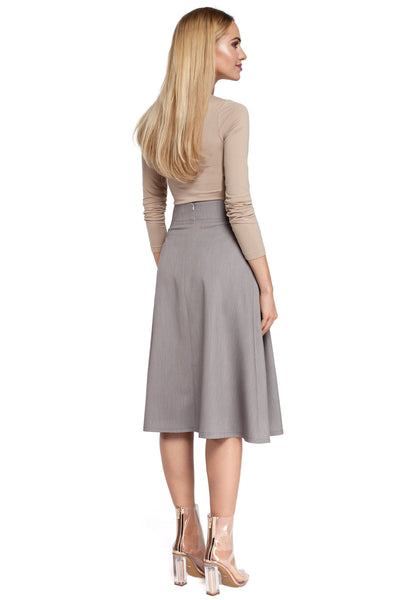 Pleated High Waist Grey Midi Skirt