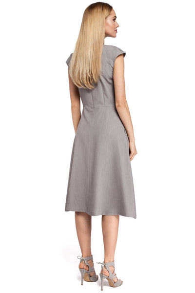 Grey Midi Dress With Inverted Front Pleat