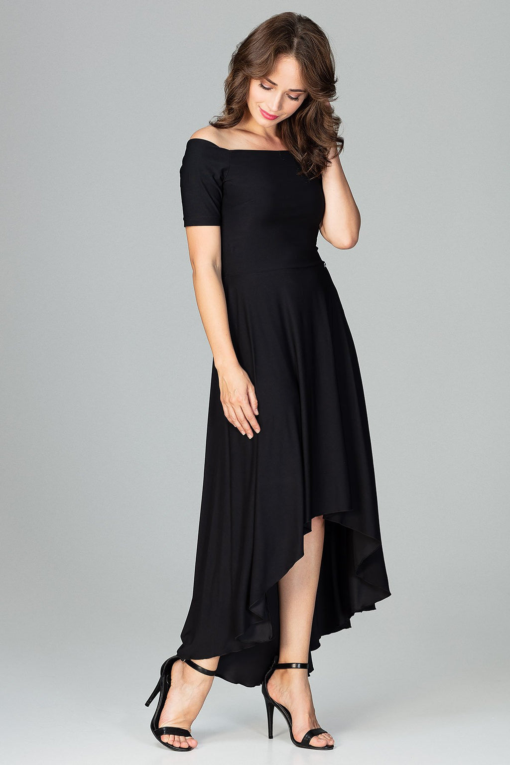 Black Asymmetric Maxi Dress (1628655255626)