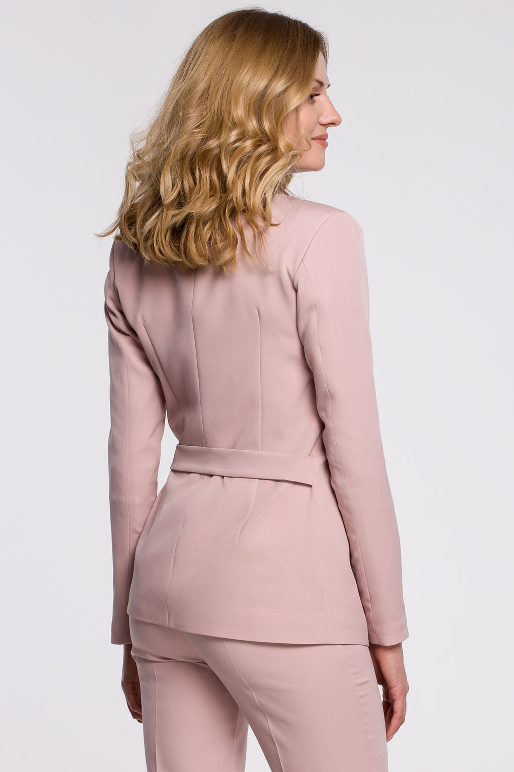 Powder Pink Tied Blazer - So Chic Boutique