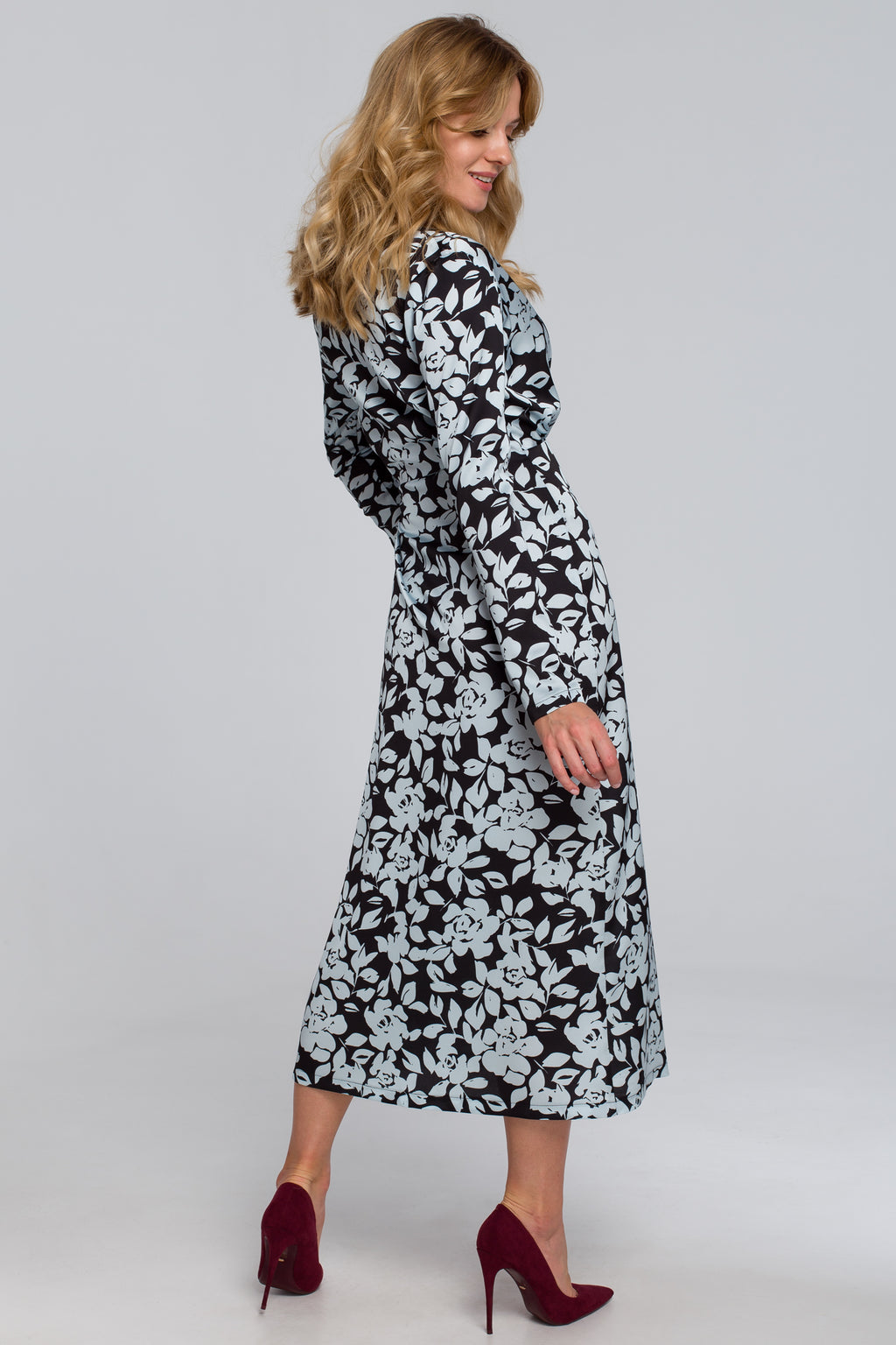 Black And White Floral Midi Wrap Dress - So Chic Boutique