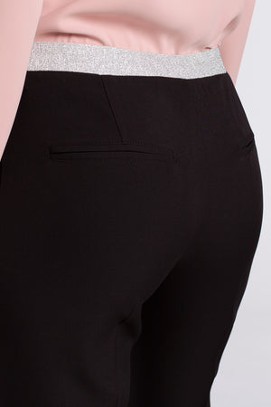 Black Capri Trousers With Silver Elastic Waist Band - So Chic Boutique