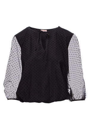 Black Polka Dot Blouse With Transparent Sleeves - So Chic Boutique