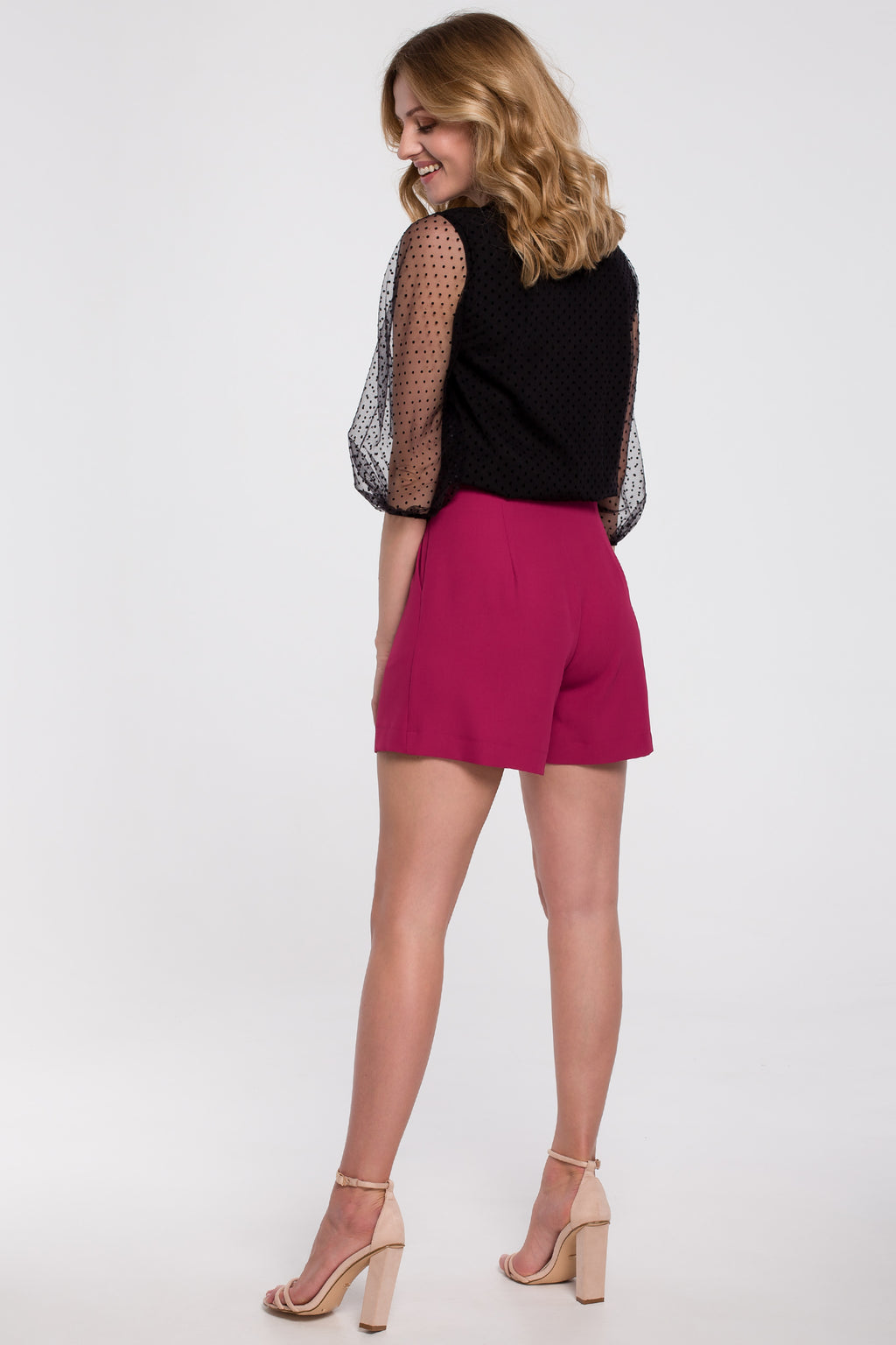 Dark Pink Relaxed Shorts With Front Pleats - So Chic Boutique