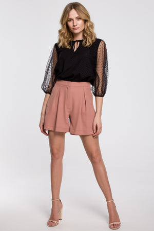 Dusty Pink Relaxed Shorts With Front Pleats - So Chic Boutique