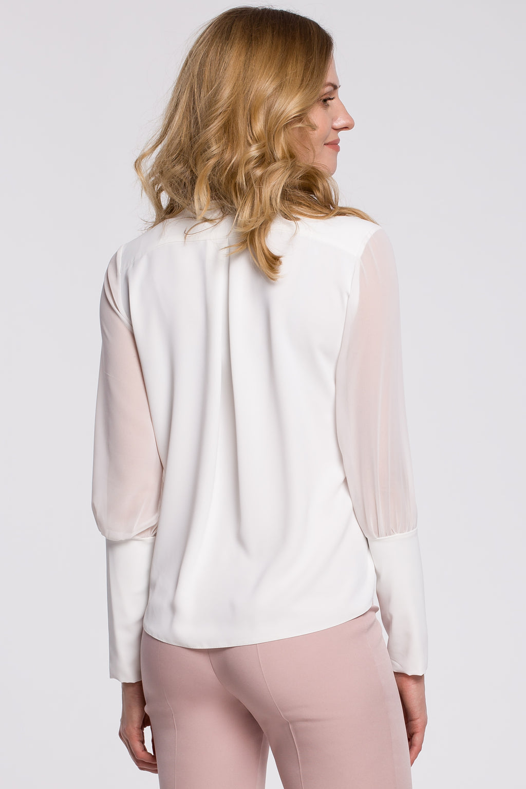 Ecru Chiffon Blouse With Long See Through Sleeves - So Chic Boutique