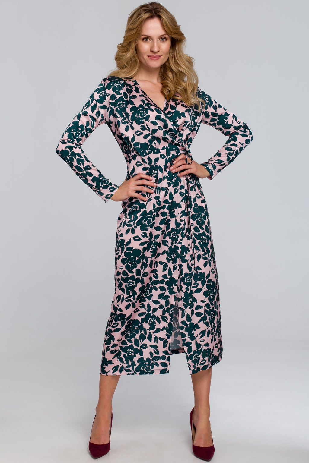 Green And Pink Floral Midi Wrap Dress - So Chic Boutique
