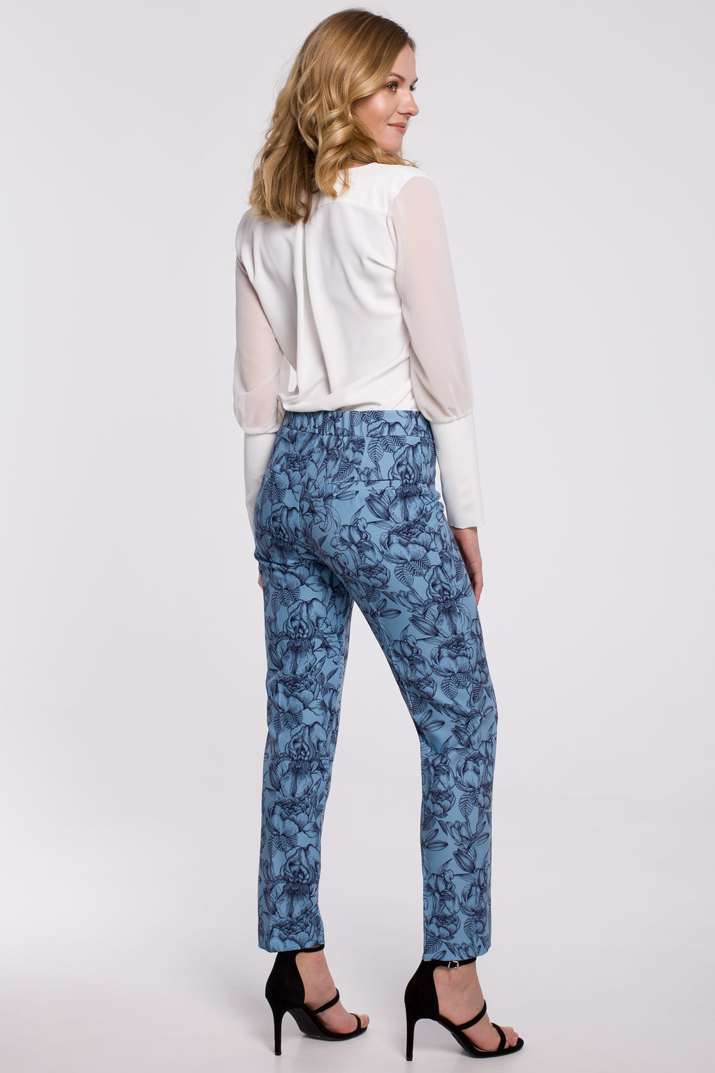 Light Blue Floral Print Slim Fit Trousers - So Chic Boutique