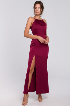 Maroon Maxi Slit Dress With Spaghetti Straps - So Chic Boutique