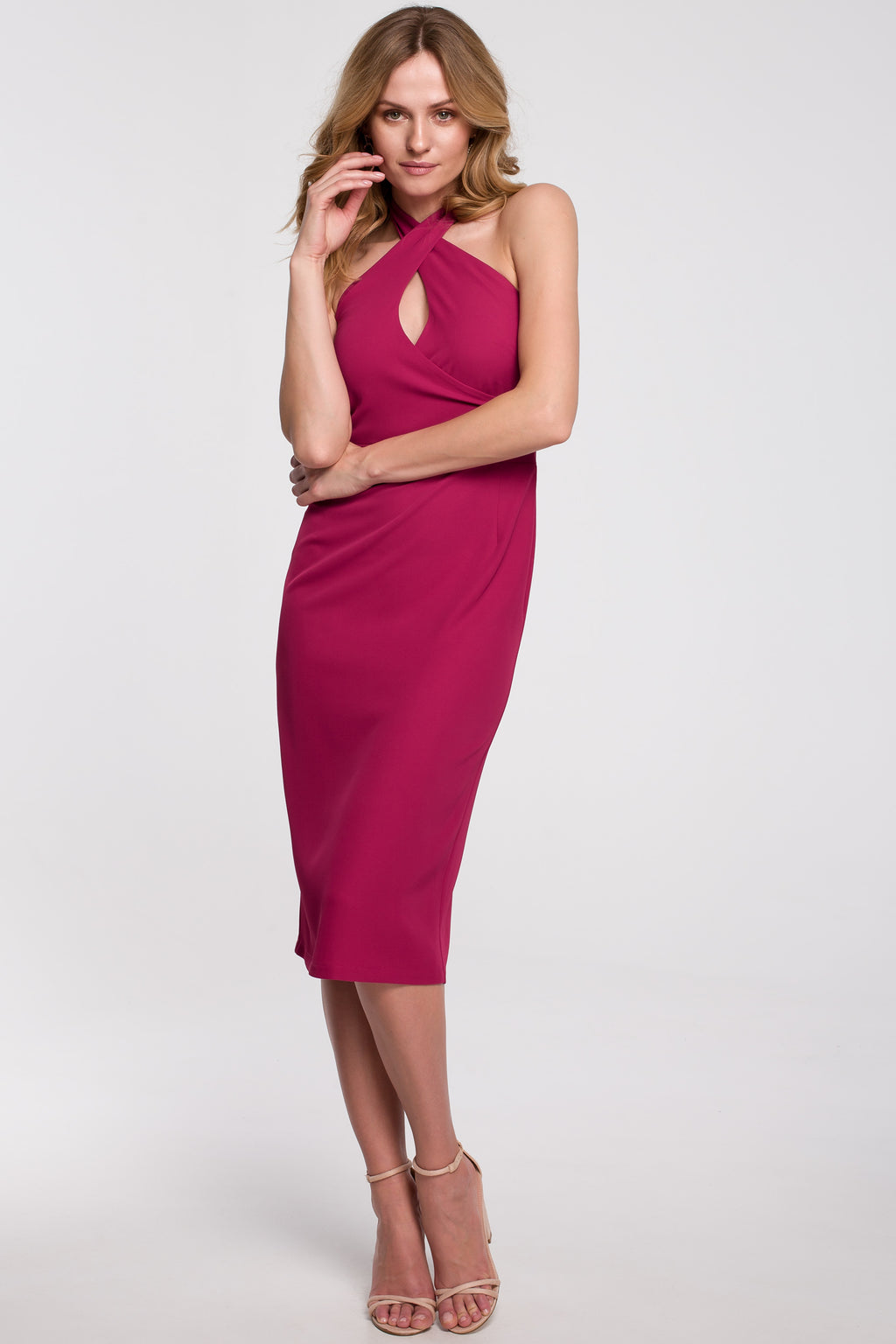 Midi Dark Pink Dress With Cross Front - So Chic Boutique