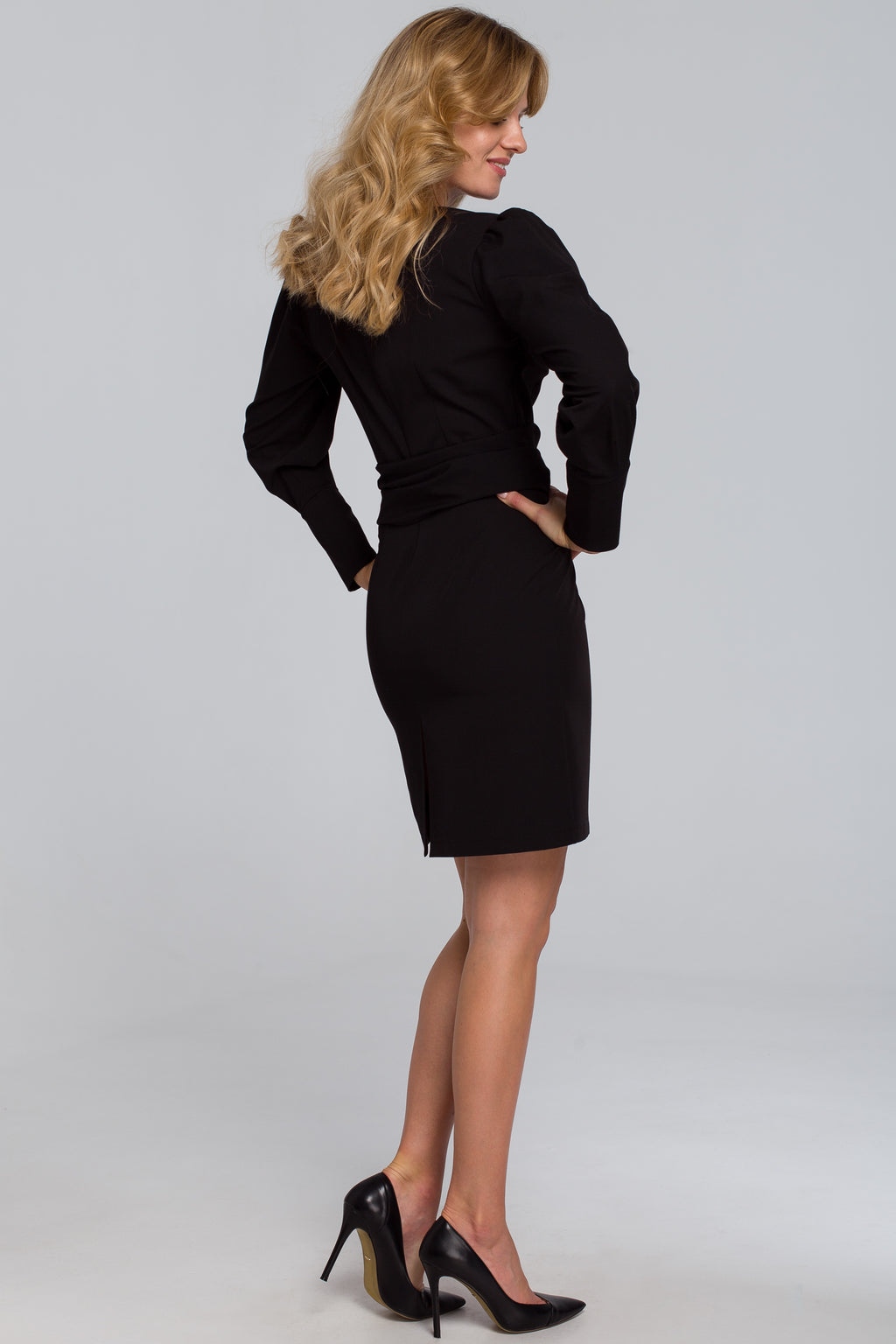 Mini Black Dress With Wide Tie Belt - So Chic Boutique