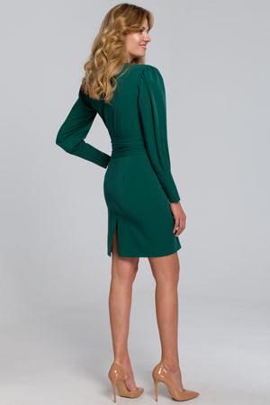 Mini Emerald Green Dress With Wide Tie Belt - So Chic Boutique