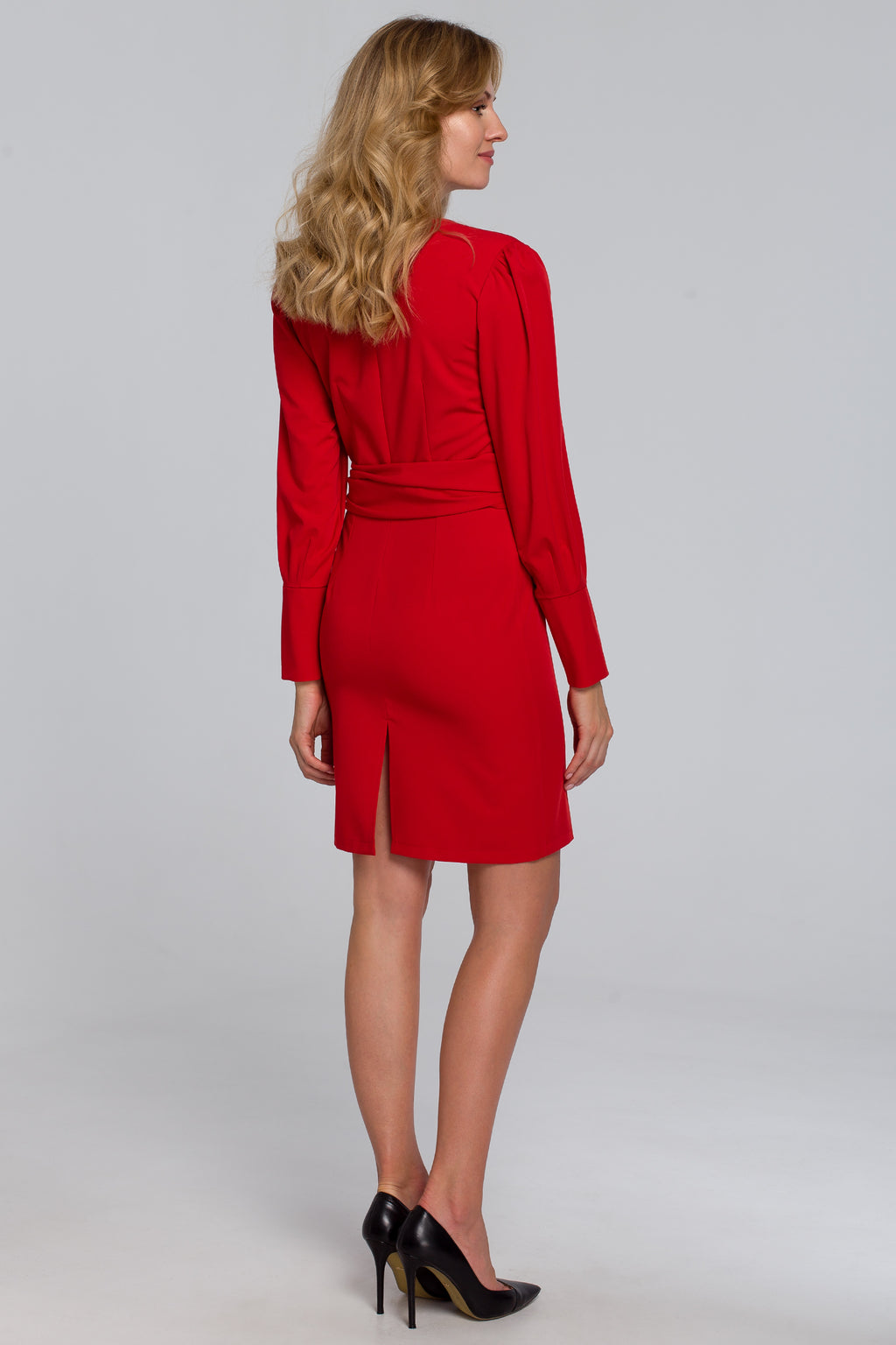 Mini Red Dress With Wide Tie Belt - So Chic Boutique