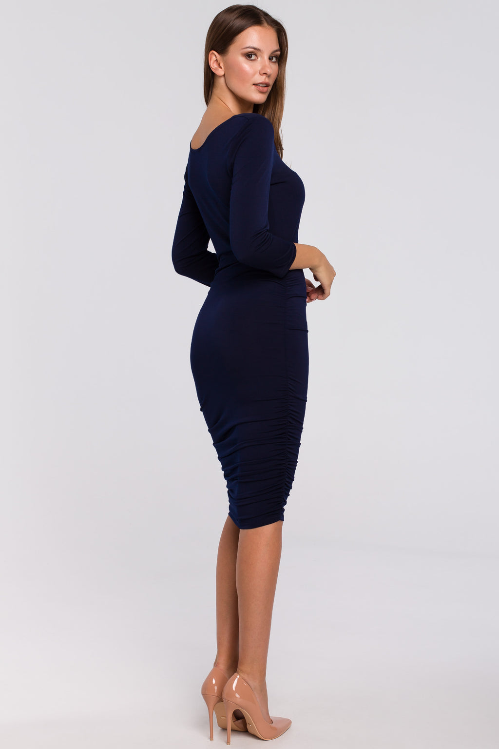 Navy Blue Midi Dress With Ruched Detailing - So Chic Boutique