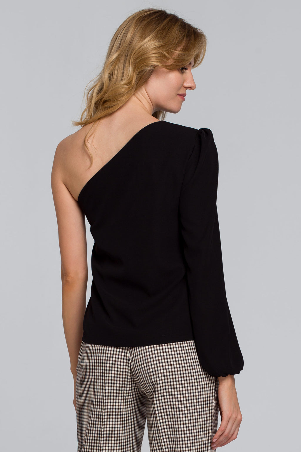 One Shoulder Black Blouse - So Chic Boutique