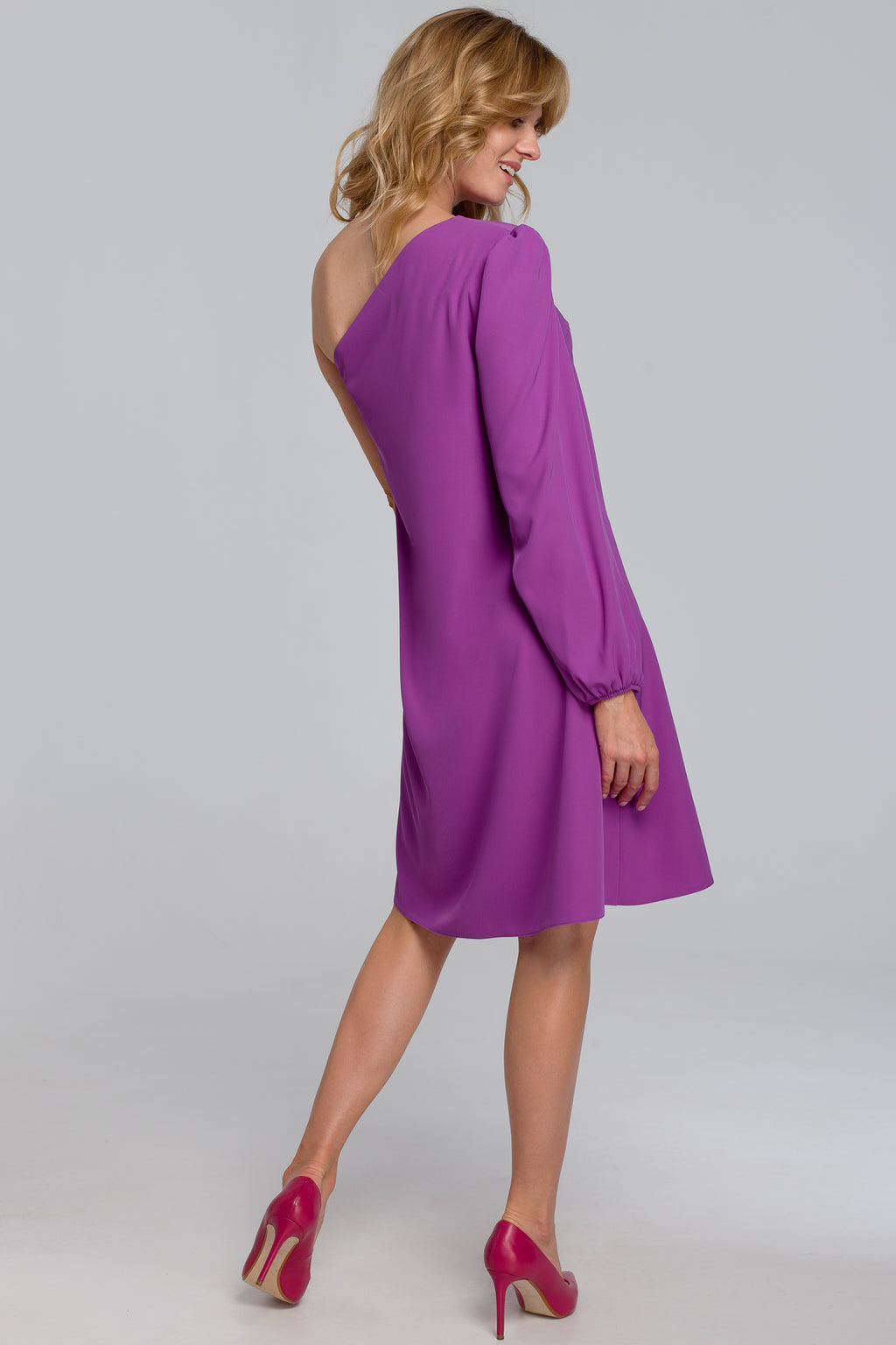 One Shoulder Purple Dress - So Chic Boutique