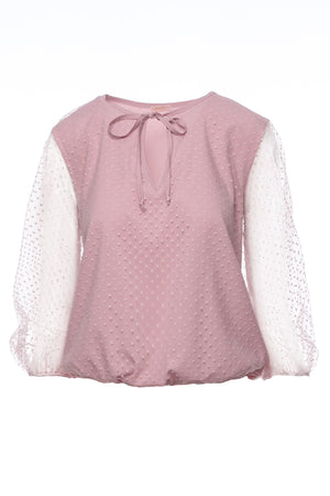Powder Pink Polka Dot Blouse With Transparent Sleeves - So Chic Boutique
