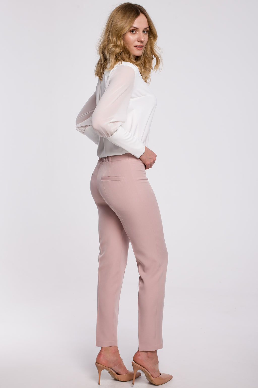 Powder Pink Slim Fit Trousers - So Chic Boutique