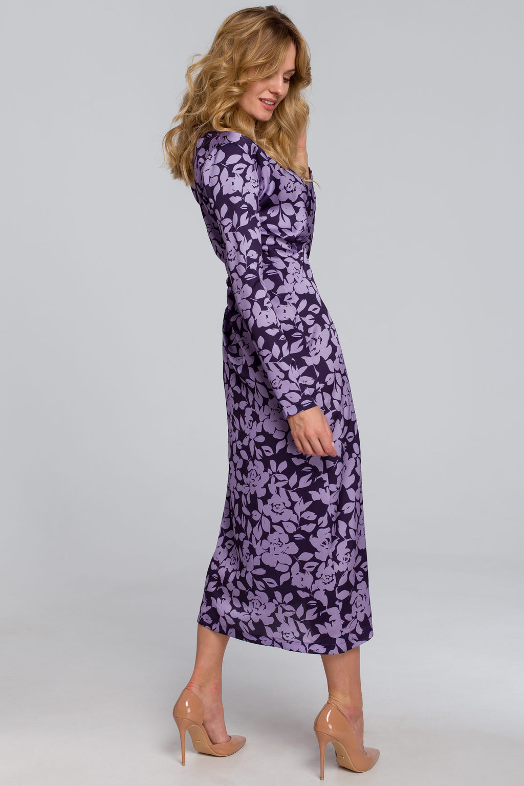 Purple Floral Midi Wrap Dress - So Chic Boutique