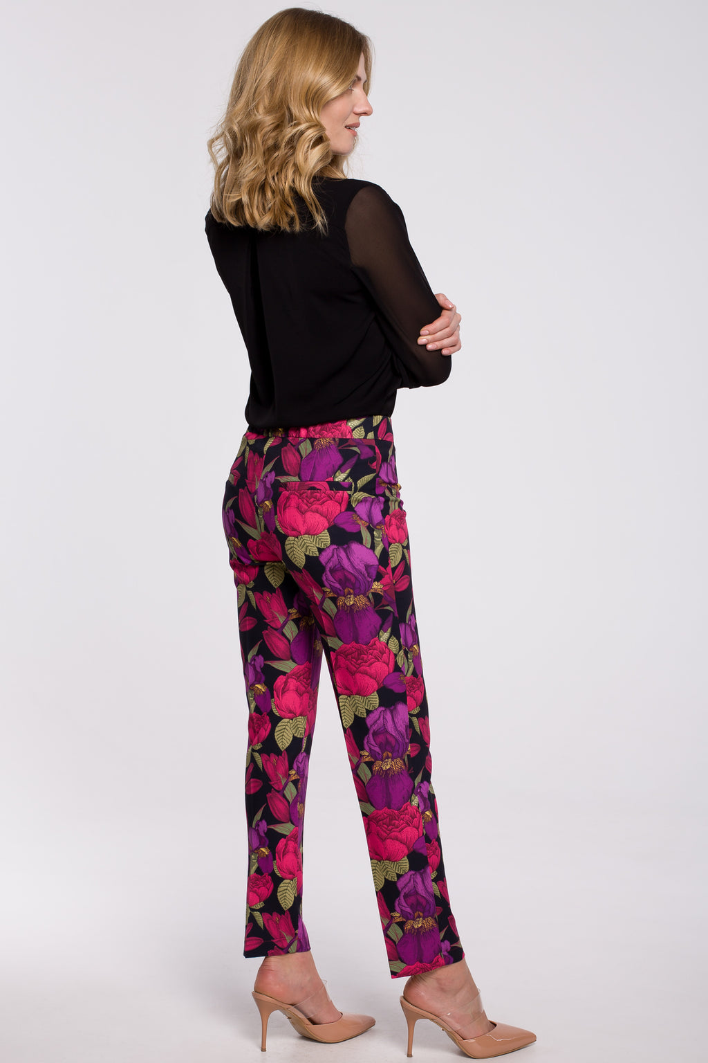 Purple Floral Print Slim Fit Trousers - So Chic Boutique