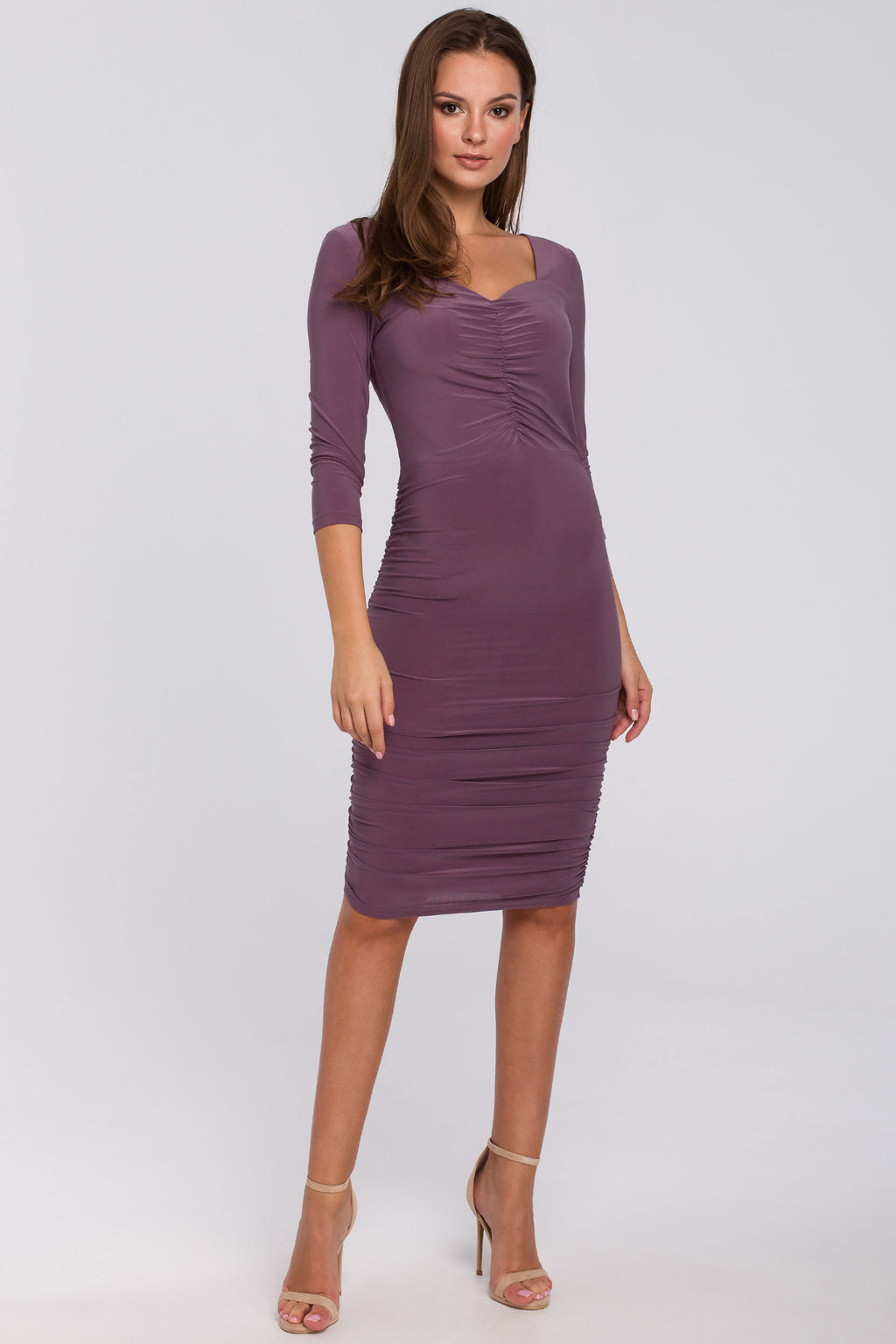 Purple Midi Dress With Ruched Detailing - So Chic Boutique
