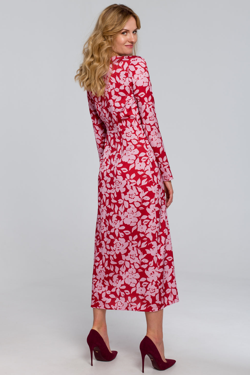 Red And Pink Floral Midi Wrap Dress - So Chic Boutique