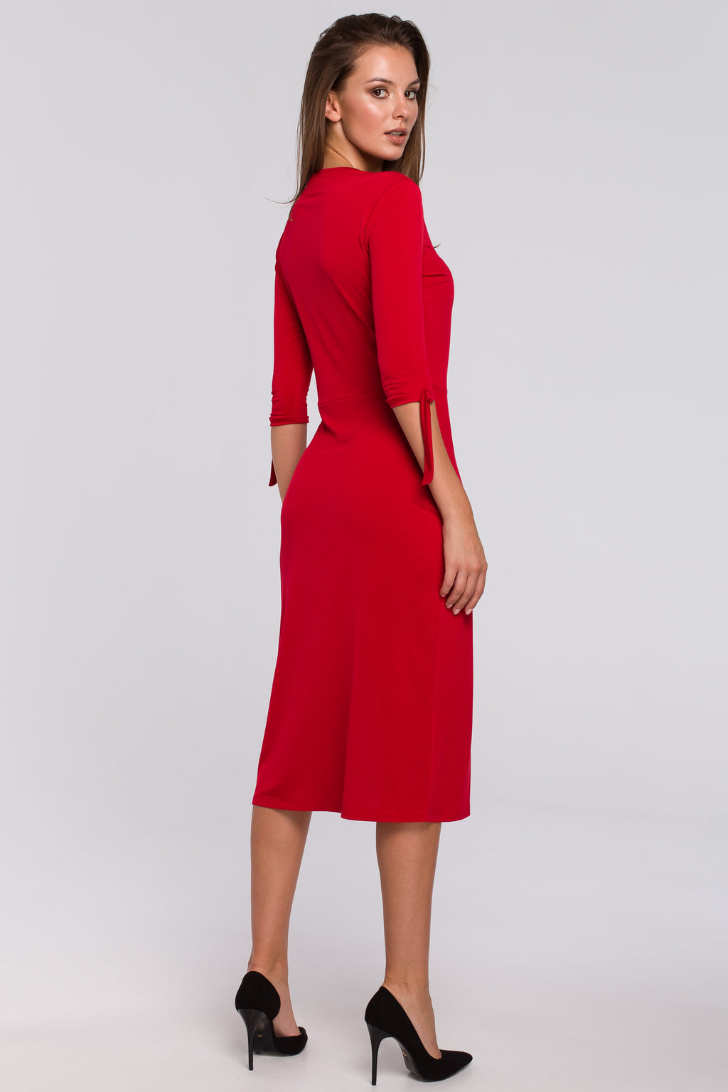Red Midi Dress With A Side Slit And Elbow Tied Sleeves - So Chic Boutique