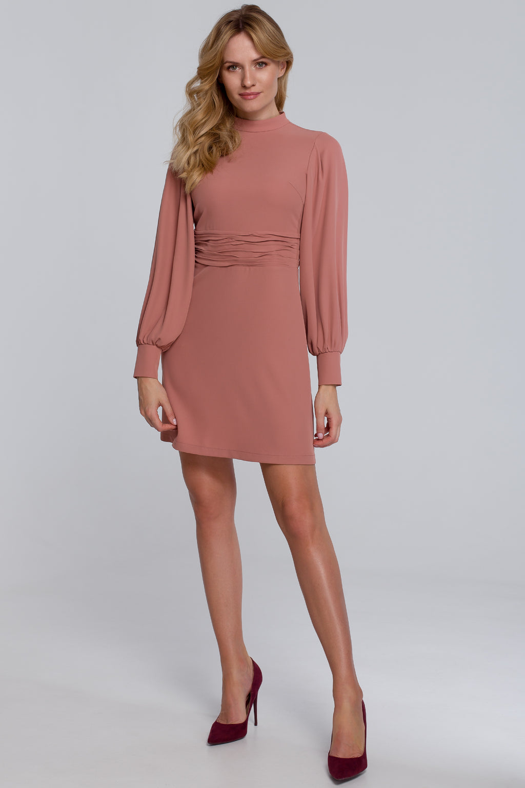 Dusty Rose Mini Dress With Bishop Sleeves - So Chic Boutique