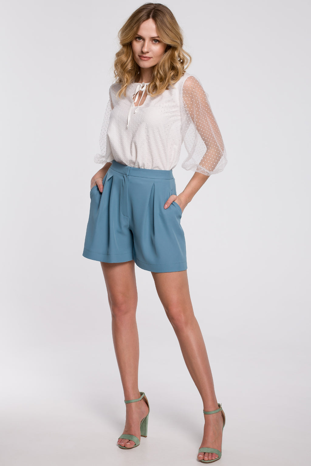 Sky Blue Relaxed Shorts With Front Pleats - So Chic Boutique