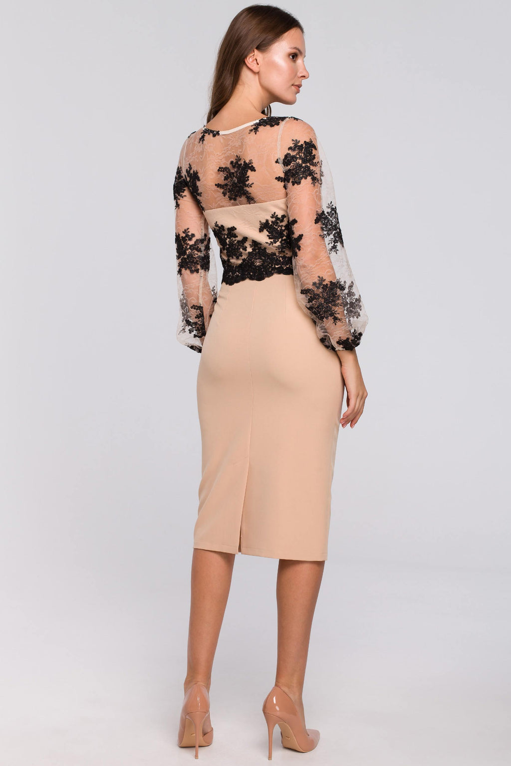 Beige Pencil Dress With Guipure Lace Overlay Top - So Chic Boutique