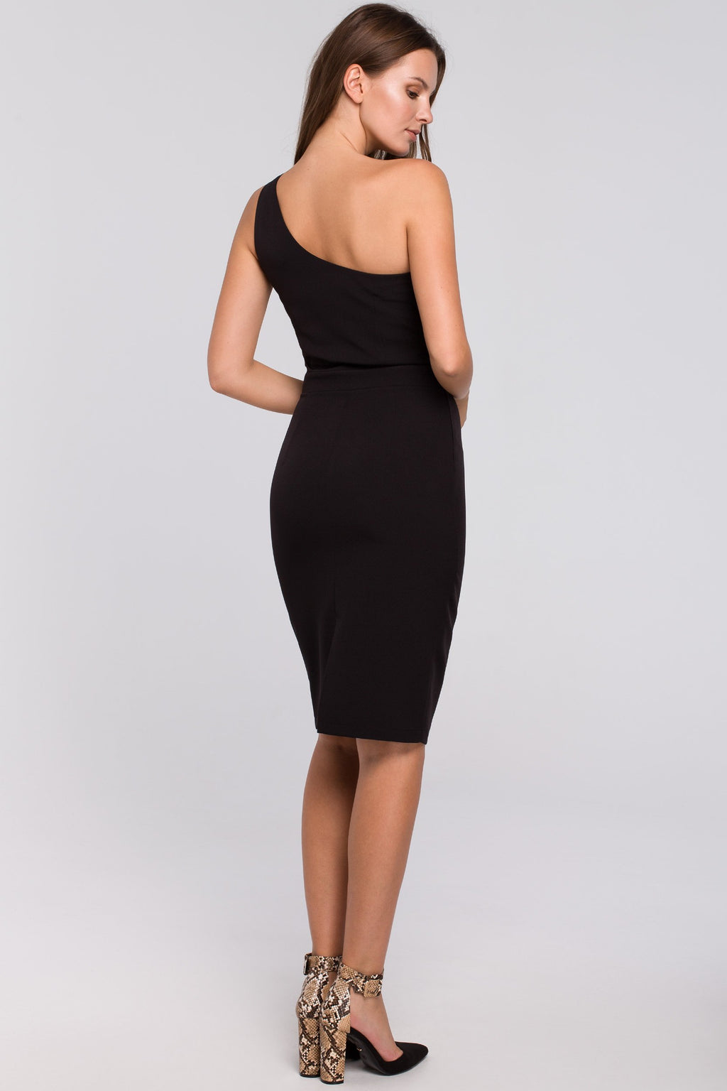 Black Fitted One Shoulder Dress - So Chic Boutique