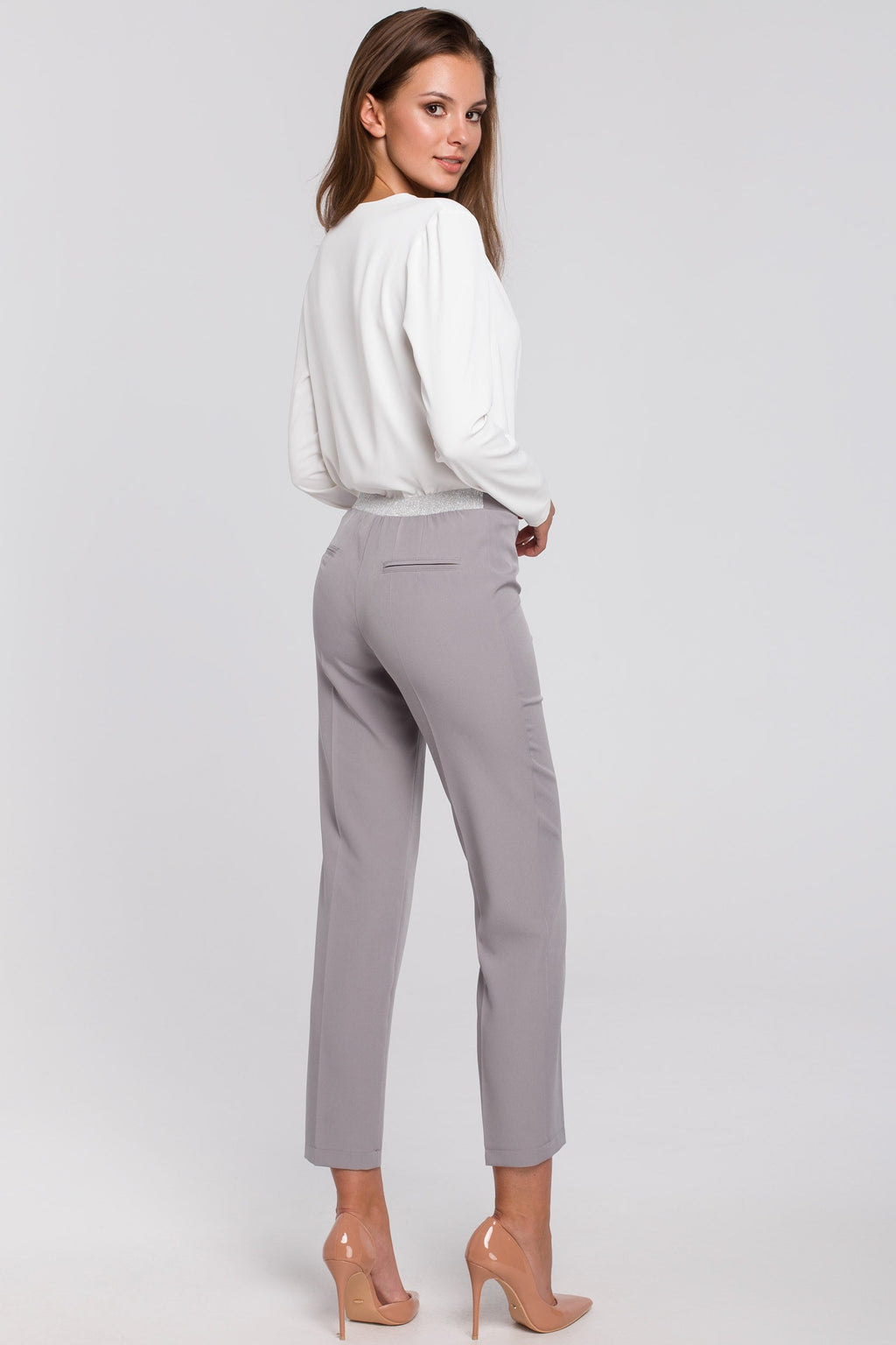 Grey Capri Trousers With Silver Elastic Waist Band - So Chic Boutique