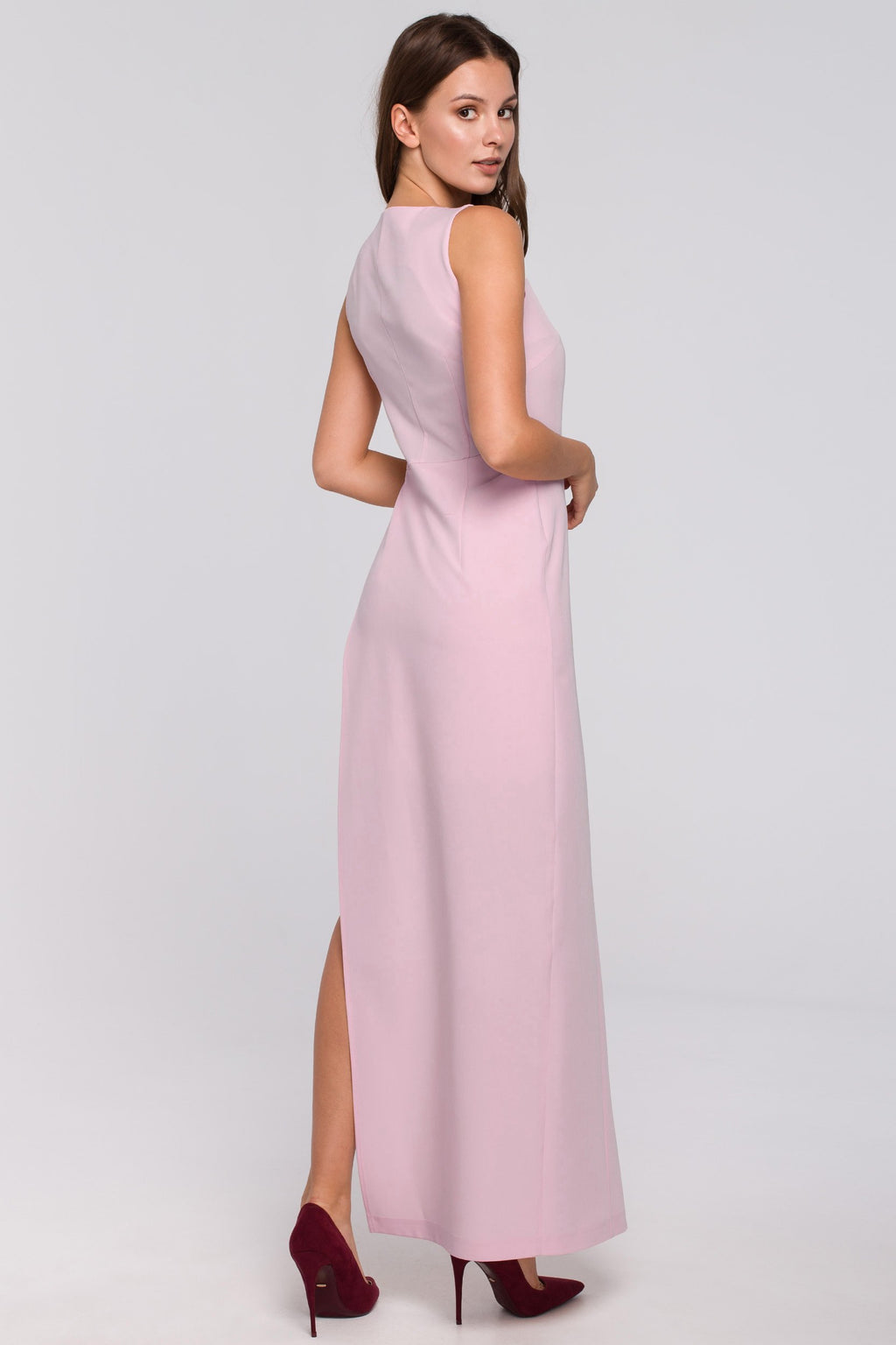 Powder Pink Maxi Asymmetric Cut Dress - So Chic Boutique