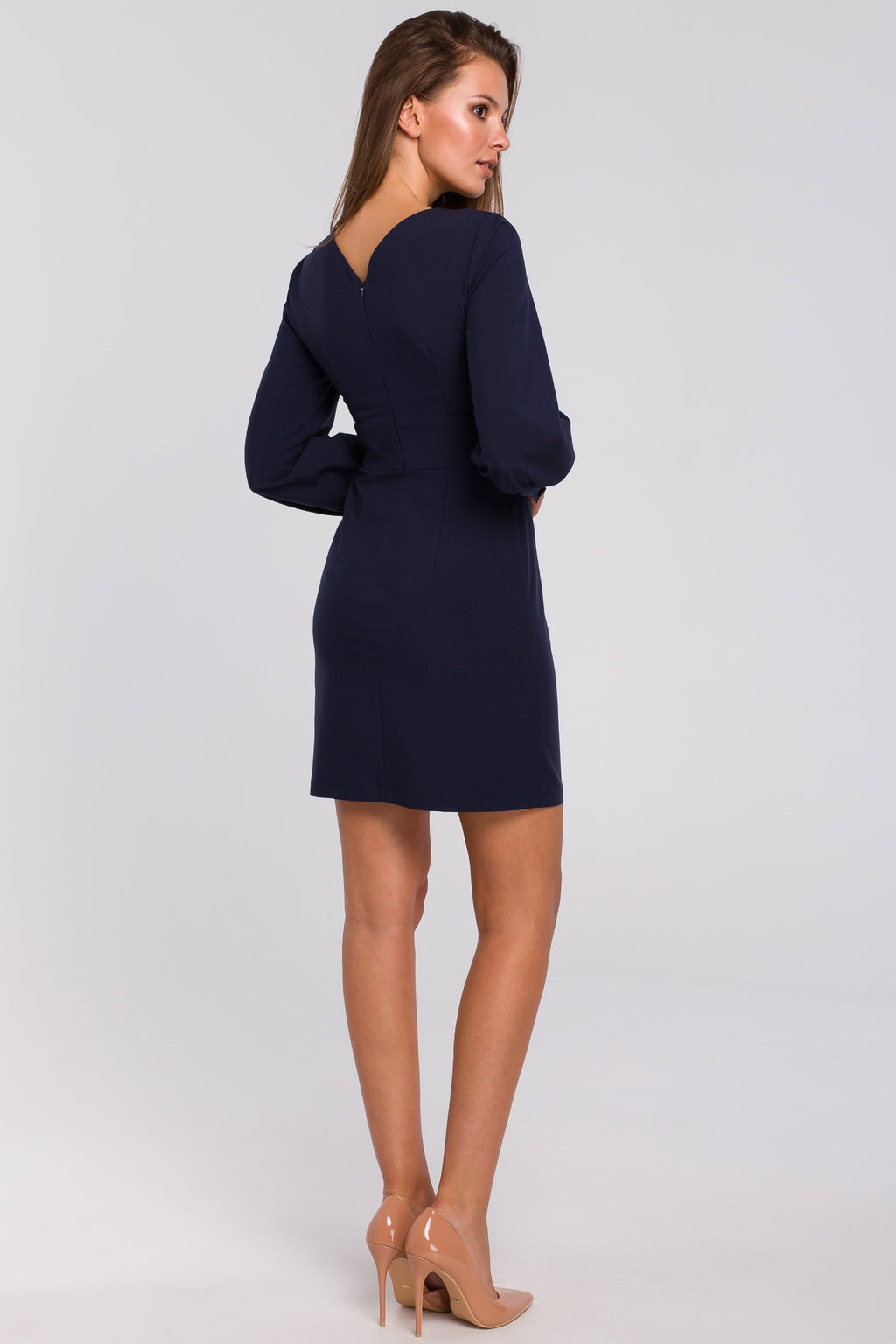 Mini Navy Blue Dress With Puff Long Sleeves - So Chic Boutique