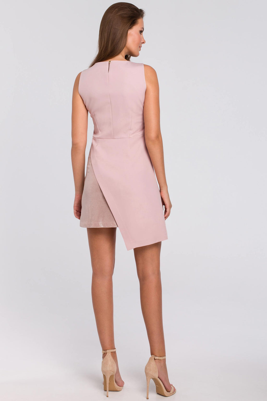 Mini Powder Pink Asymmetric Metallic Insert Dress - So Chic Boutique