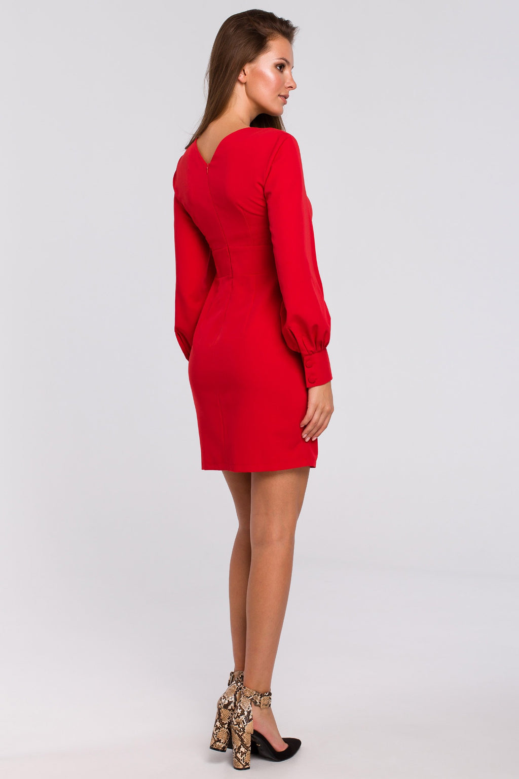 Mini Red Dress With Puff Long Sleeves - So Chic Boutique