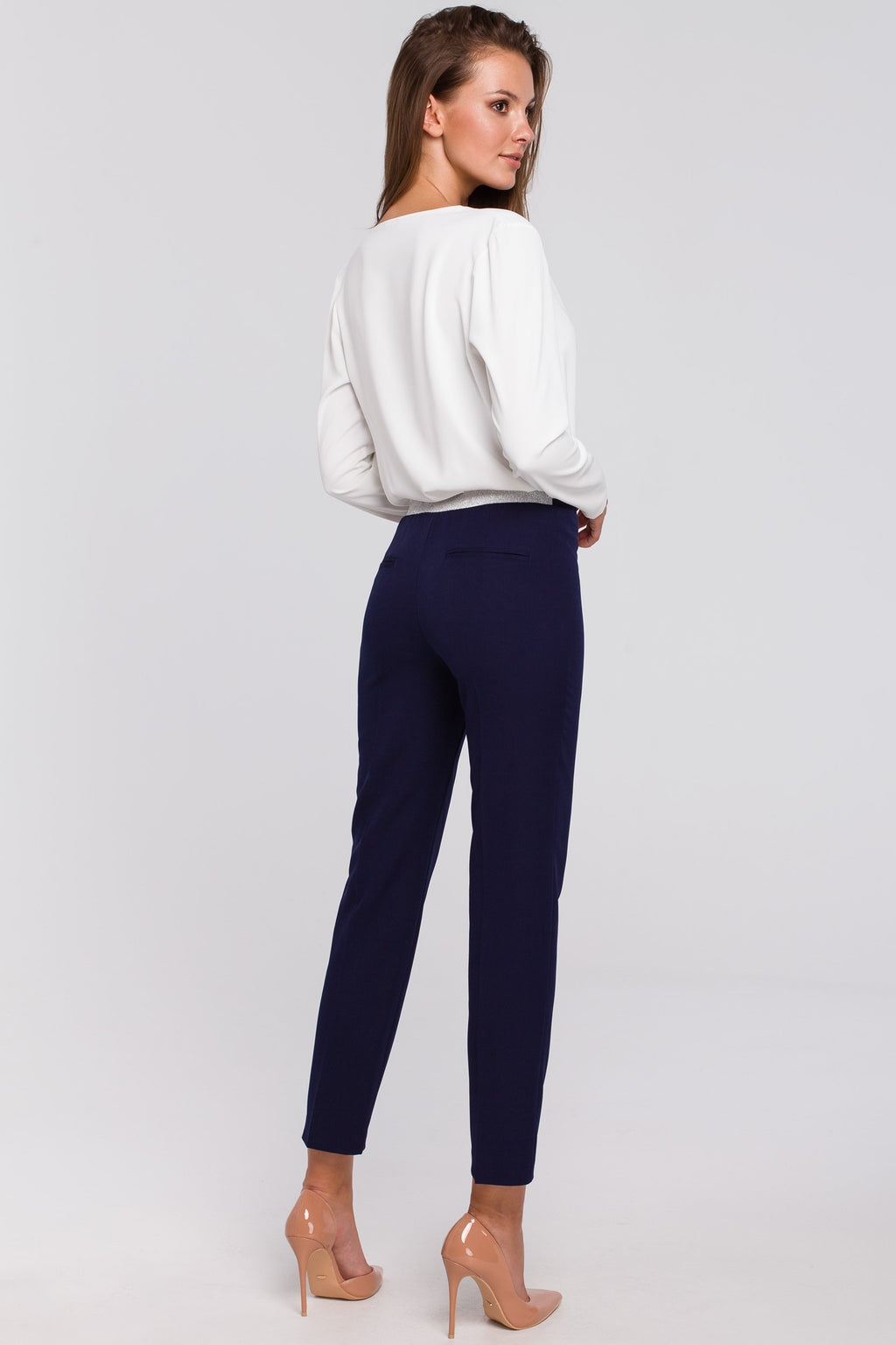 Navy Blue Capri Trousers With Silver Elastic Waist Band - So Chic Boutique