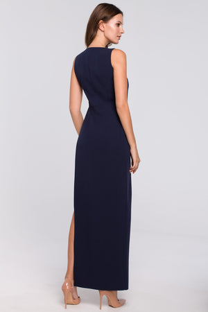Navy Blue Maxi Asymmetric Cut Dress - So Chic Boutique