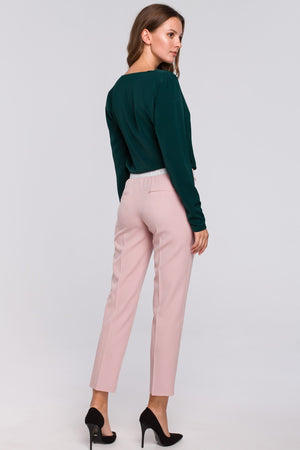 Powder Pink Capri Trousers With Silver Elastic Waist Band - So Chic Boutique