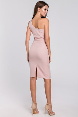 Powder Pink Fitted One Shoulder Dress - So Chic Boutique