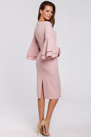 Powder Pink Midi Dress With Ruffle Sleeves