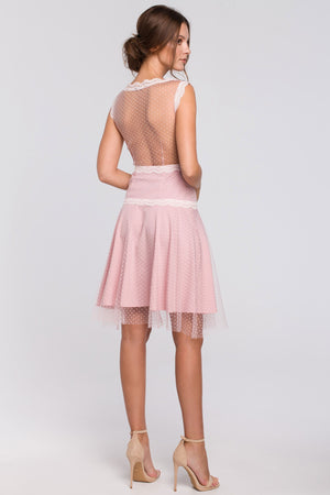 Powder Pink Polka Dot Tulle Mini Dress With Lace Details